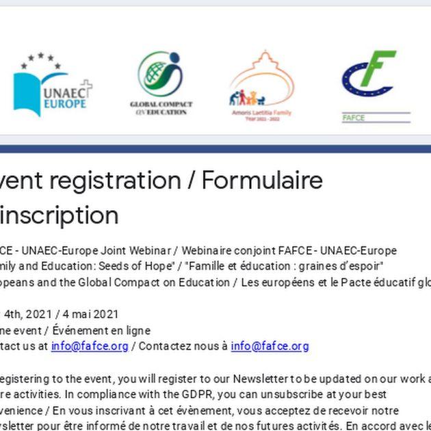 Event registration / Formulaire d'inscription