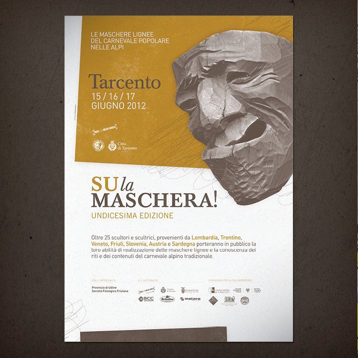 """Locandina coordinata per il """"Consorzio Mascherai alpini"""" e la loro manifestazione di artigianato artistico. http://mascheraialpini.com"""