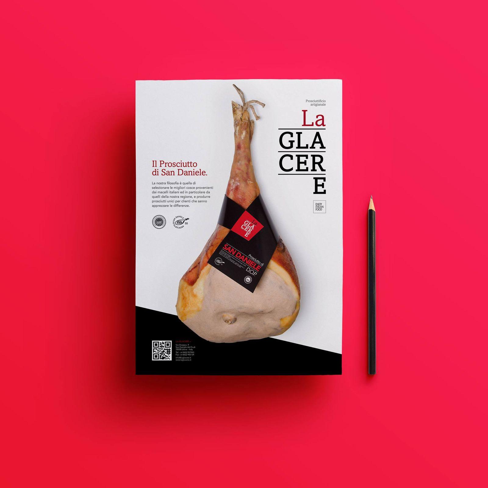 """Immagine coordinata e design prodotto per il prosciuttificio artigianale """"La Glacere"""" a San Daniele del Friuli."""